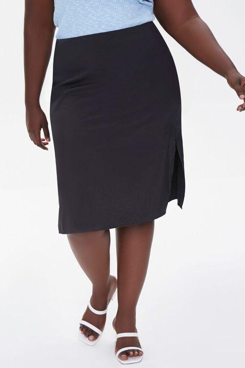 BLACK Plus Size High-Rise Slit Skirt, image 2