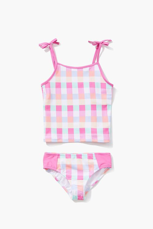 PINK/MULTI Girls Plaid Two-Piece Swimwear Set (Kids), image 3