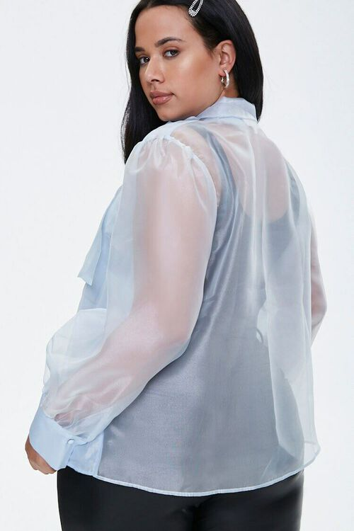 Plus Size Organza Pussycat Bow Top, image 3