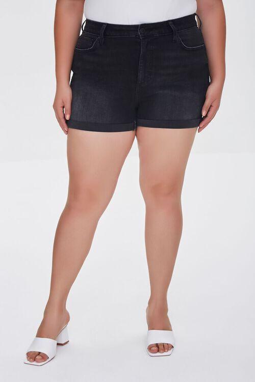 WASHED BLACK Plus Size Cuffed Denim Shorts, image 2