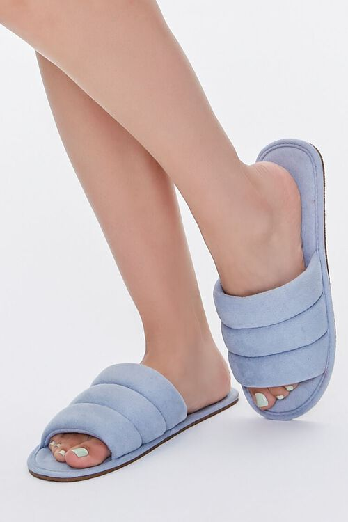 Faux Suede Quilted Slippers, image 1