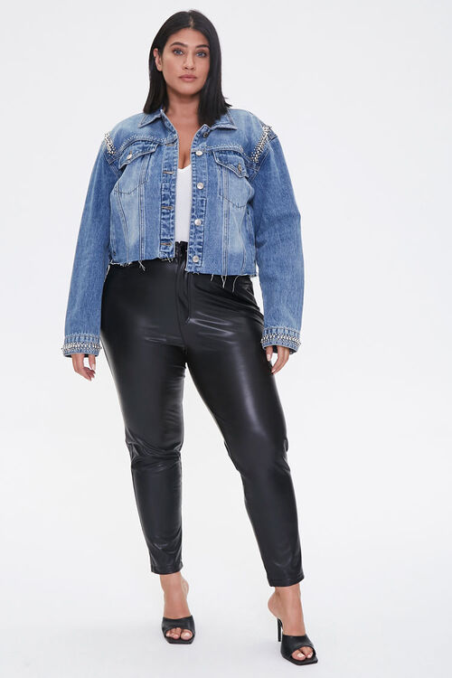 Plus Size Studded Denim Jacket, image 4