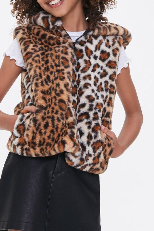 Girls Hooded Leopard Vest (Kids), image 5