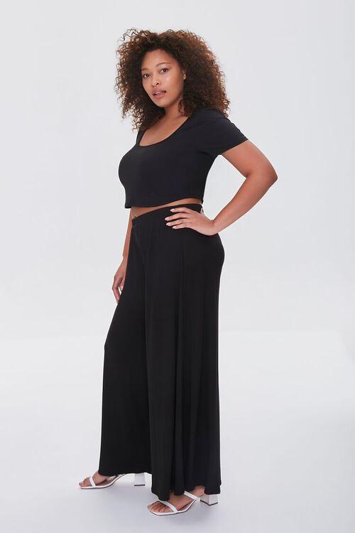 BLACK Plus Size Tee & Palazzo Pants Set, image 2