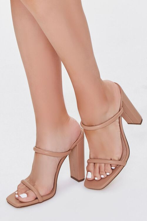 NUDE Faux Leather Block Heels, image 1