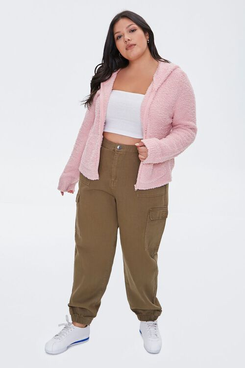 Plus Size Fuzzy Knit Zip-Up Hoodie, image 4