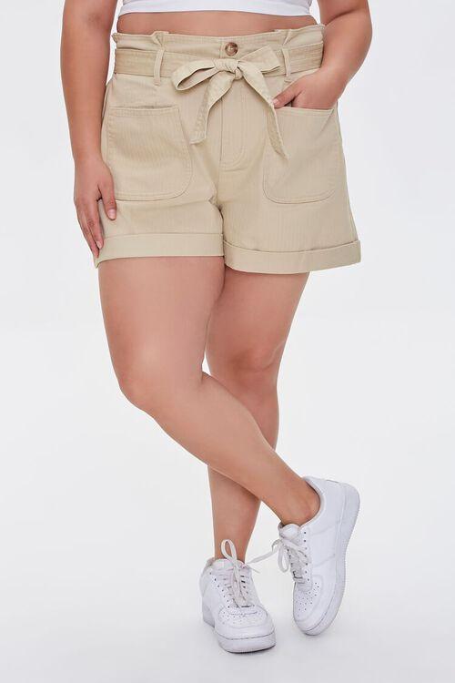 Plus Size Sash-Belt Cuffed Shorts, image 2