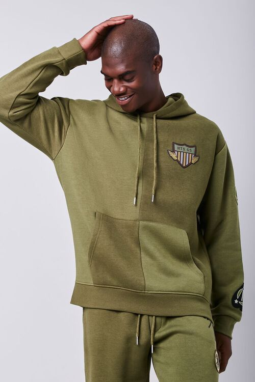 Patch Graphic Fleece Hoodie, image 1