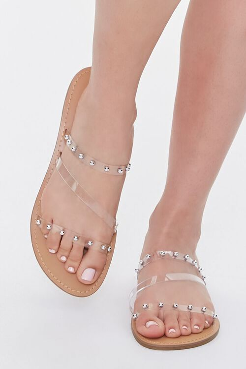 Transparent Ball Stud Flat Sandals, image 4