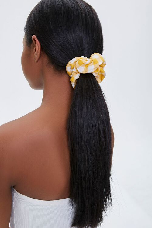 YELLOW Plaid Ruched Scrunchie, image 1