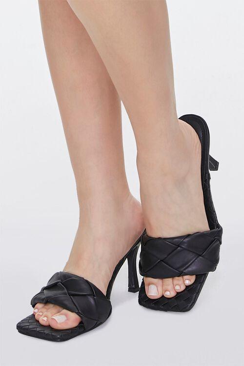 BLACK Braided Square Toe Heels, image 1