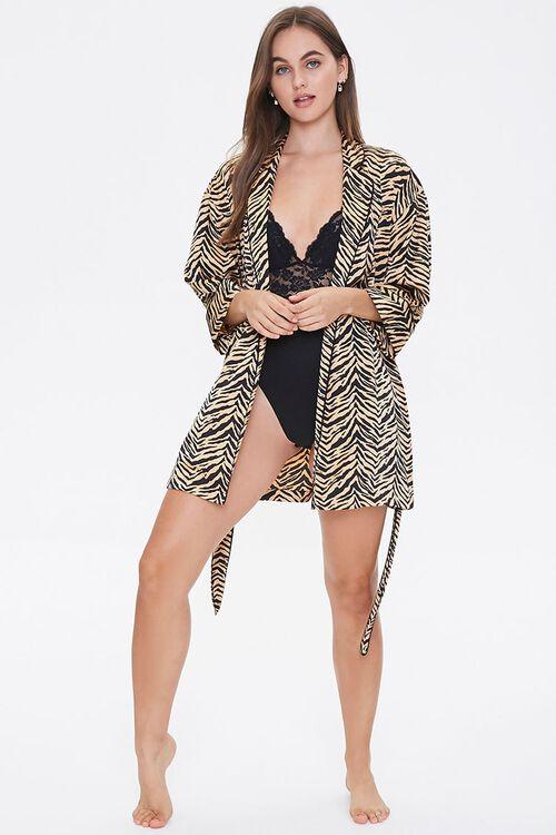 Satin Tiger Stripe Robe, image 4