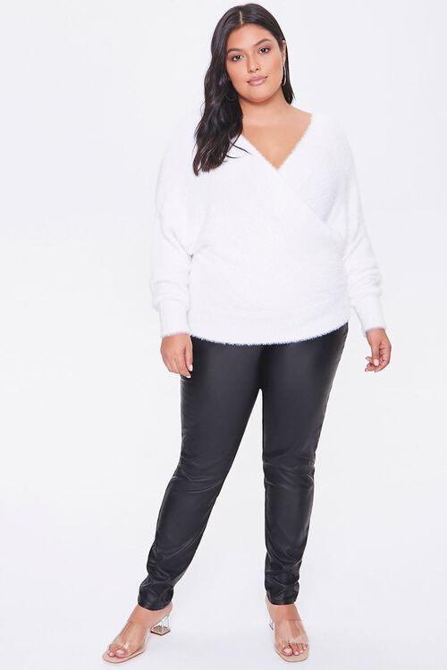 Plus Size Fuzzy Surplice Sweater, image 4