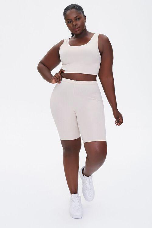 Plus Size Crop Top & Biker Shorts Set, image 4