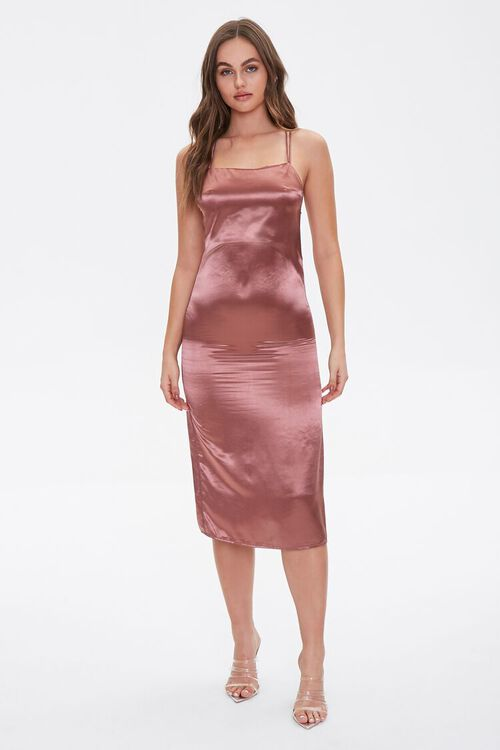 Satin Lace-Up Slip Dress, image 4