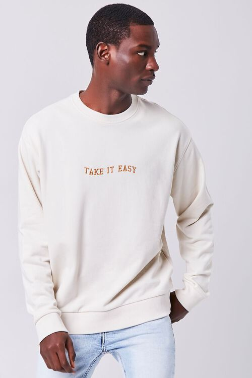 CREAM/YELLOW Take It Easy Embroidered Graphic Pullover, image 6