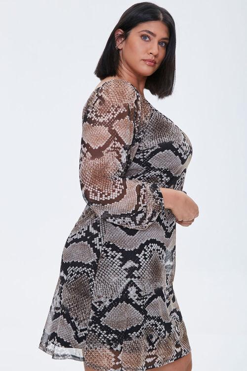 Plus Size Mesh Snake Print Dress, image 2