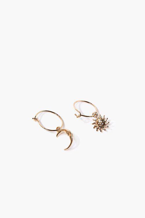 GOLD Sun & Moon Charm Hoop Earrings, image 1