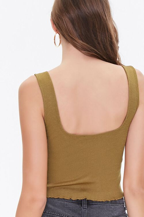 BROWN Ribbed Cropped Tank Top, image 3