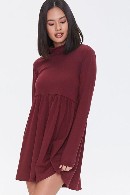 Mock Neck Mini Swing Dress, image 1