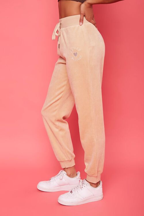 TAUPE/SILVER Rhinestone Juicy Couture Velour Joggers, image 3