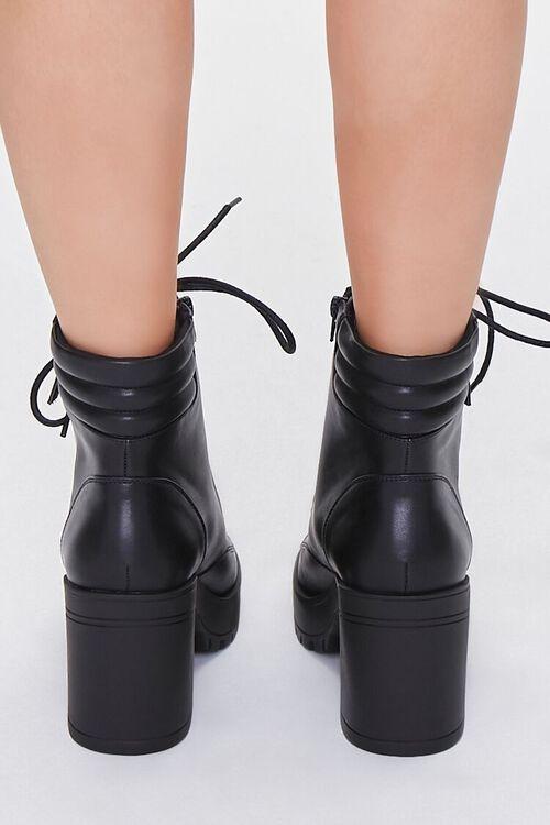 BLACK Faux Leather Block Heel Booties, image 3