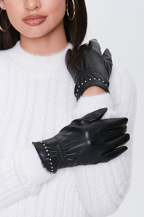 Studded Faux Leather Gloves, image 2