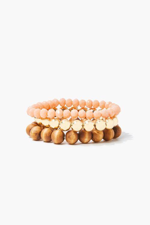 BROWN/GOLD Beaded Stretch Bracelet Set, image 2