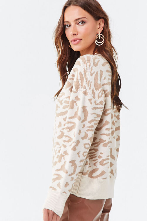 Animal Print V-Neck Sweater, image 2