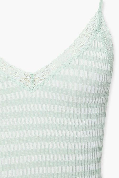 SAGE/WHITE Striped Lace-Trim Bodysuit, image 4