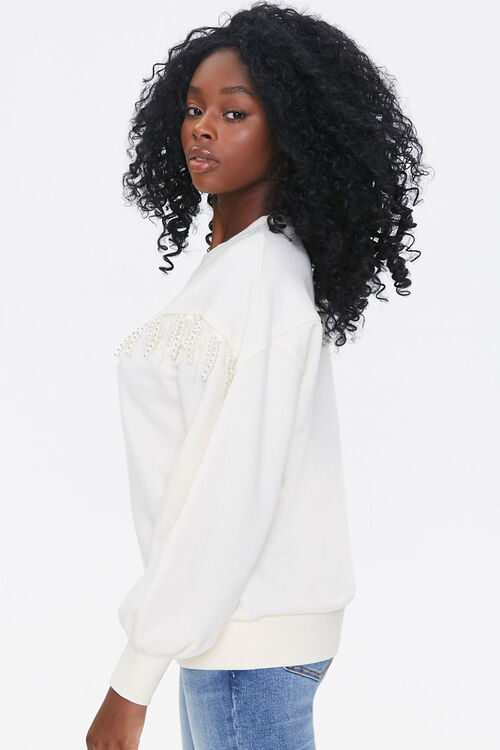 Fleece Faux Pearl Pullover, image 2