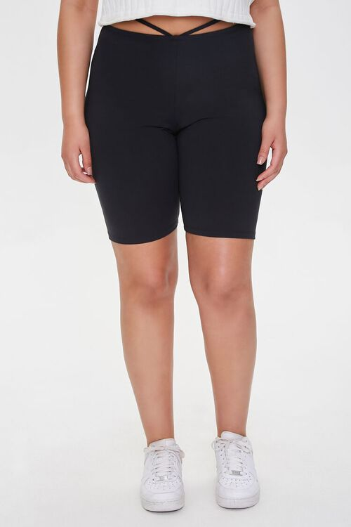 Plus Size Strappy Cutout Biker Shorts, image 2