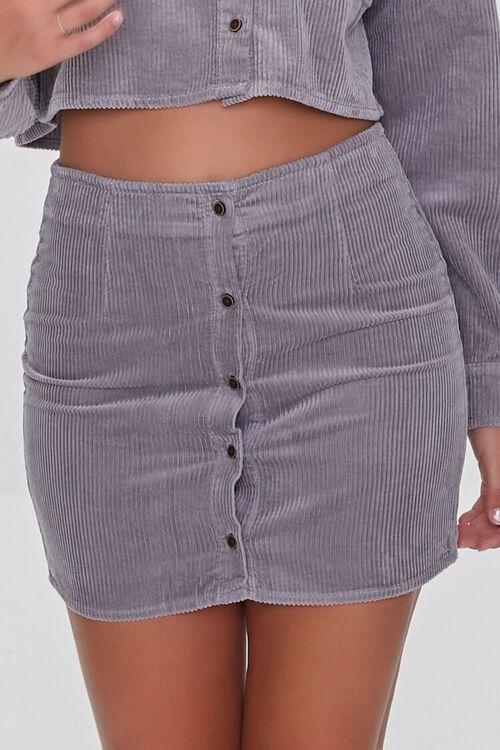 GREY Corduroy Shirt & Mini Skirt Set, image 6