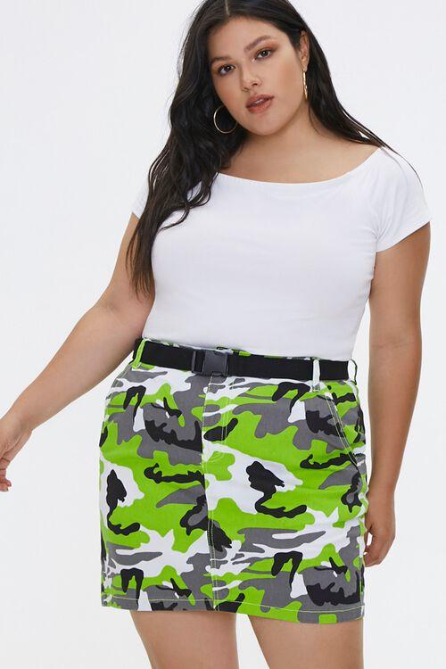 Plus Size Camo Print Mini Skirt, image 1