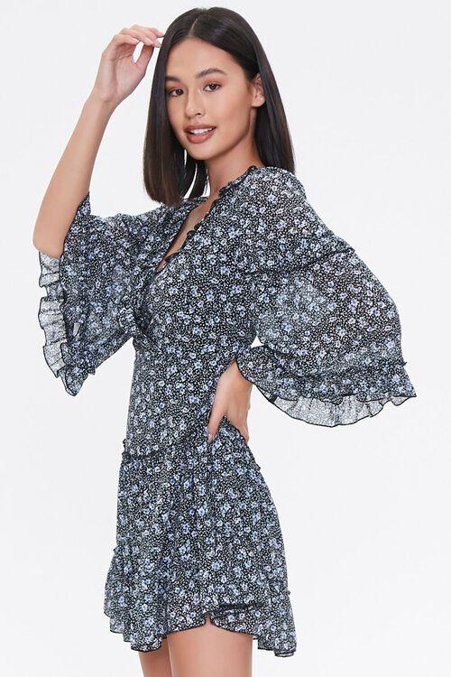 Floral Lace-Up Chiffon Dress, image 2