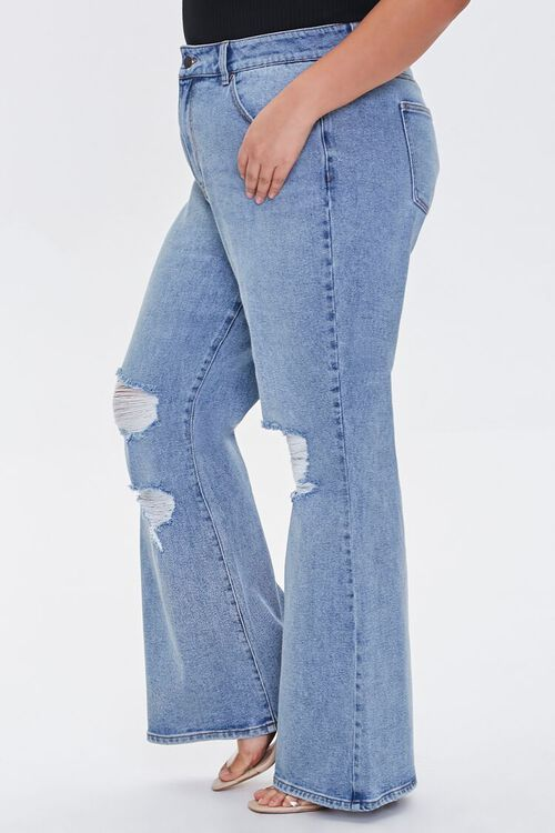 Plus Size Distressed Flare Jeans, image 3