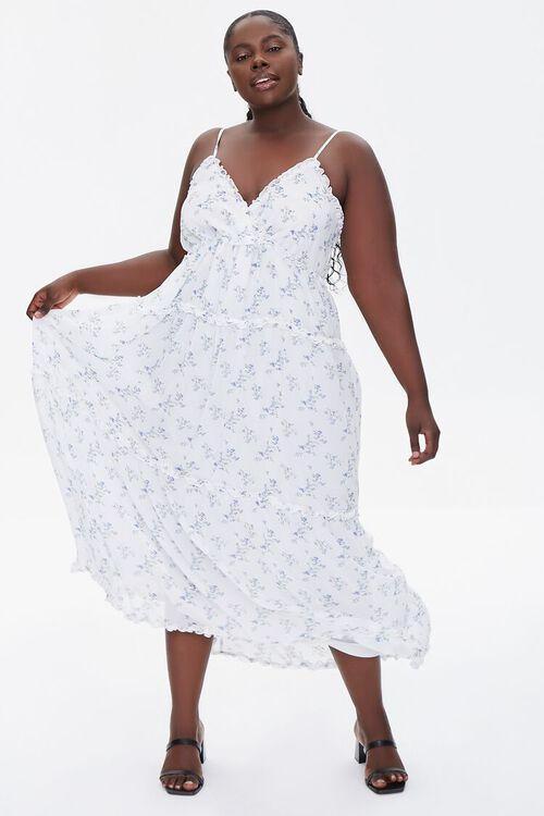 Plus Size Floral Print Chiffon Dress, image 6