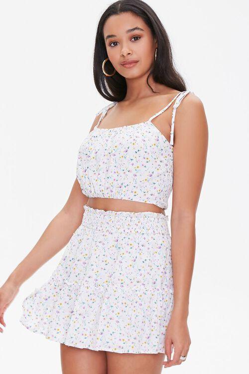WHITE/MULTI Floral Print Mini Skirt, image 1
