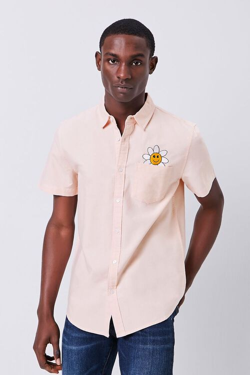 Fitted Embroidered Flower Pocket Shirt, image 2