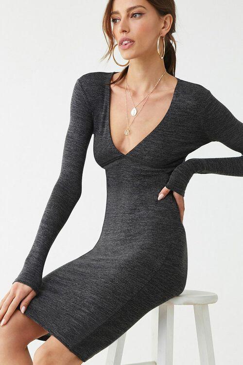 Marled Long Sleeve Mini Dress, image 1