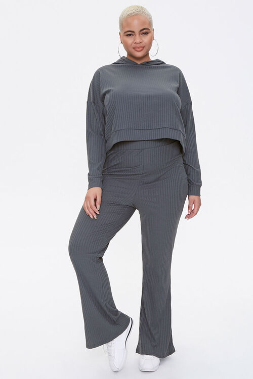 Plus Size Hooded Top & Pants Set, image 1