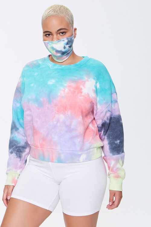 Plus Size Sweatshirt & Face Mask Set, image 1