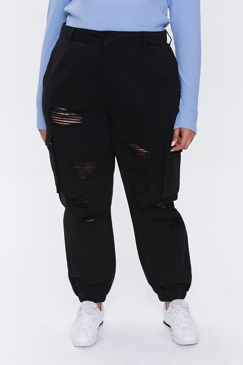 Plus Size Distressed Joggers, image 2