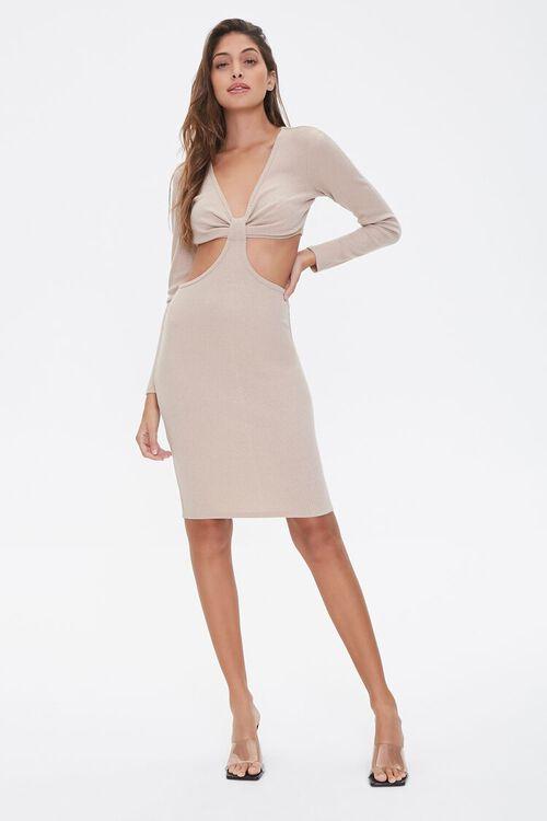 Ribbed Knit Cutout Dress, image 4