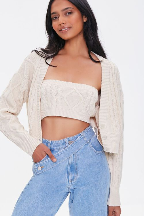 Cable Knit Tube Top & Sweater Set, image 1