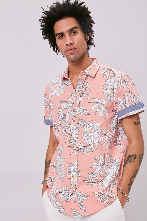 Tropical Print Fitted Shirt, image 1