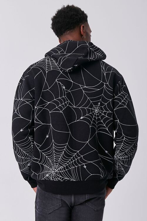 BLACK/MULTI Spiderweb Print Fleece Hoodie, image 3