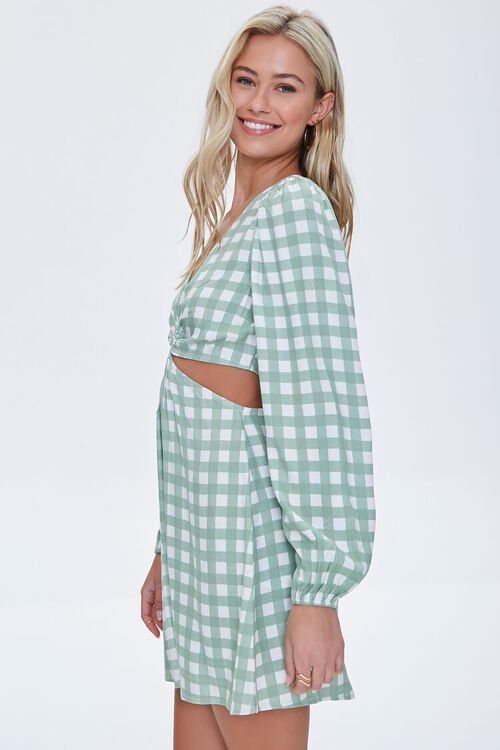 Gingham Cutout Mini Dress, image 2