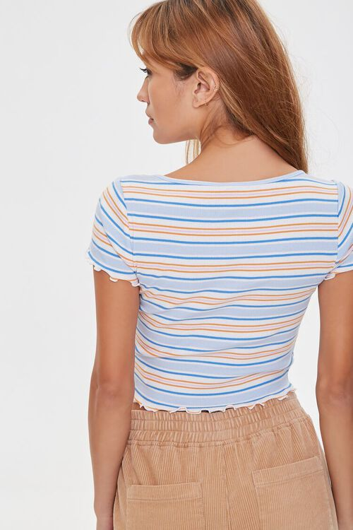 IVORY/BLUE Striped Button-Front Top, image 3