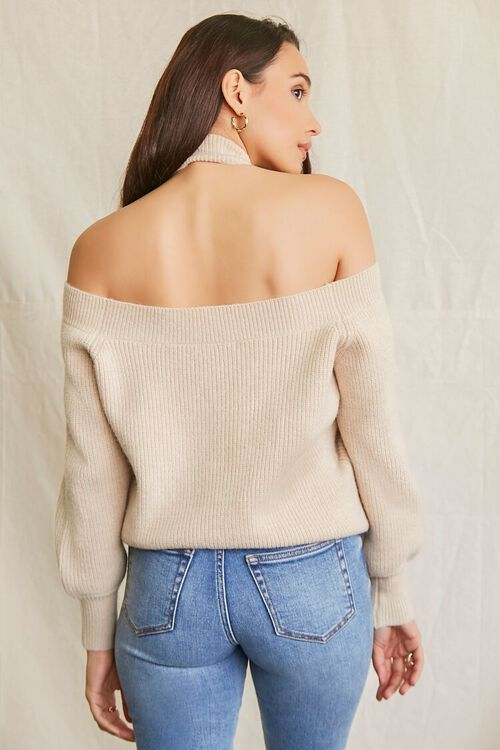 BEIGE Open-Shoulder Halter Sweater, image 3